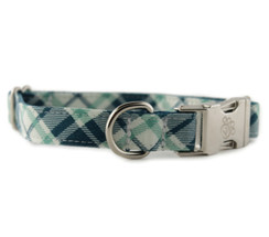 Grasshopper Plaid Dog Collar