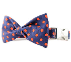Navy and Red Dot Bow Tie Dog Collar