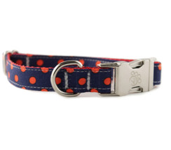 Navy and Red Dot Dog Collar