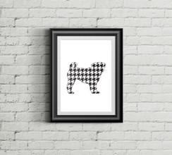 Houndstooth Pug Art Print