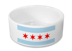 Chicago Flag Ceramic Dog Bowl - Pet Bowl