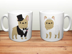 Wedding French Bulldog Ceramic Mugs