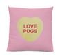 Love Pugs Candy Heart Pillow