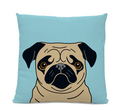 Fawn Pug on Blue Pillow