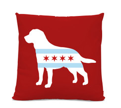 Chicago Flag Labrador Red Pillow