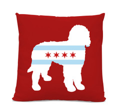 Chicago Flag Doodle Red Pillow