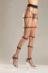 Sheer Faux Chains Design Pantyhose
