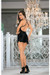 Escante Charmeuse Adjustable Strap Baby Doll w/Mesh Robe & G-String Black LG