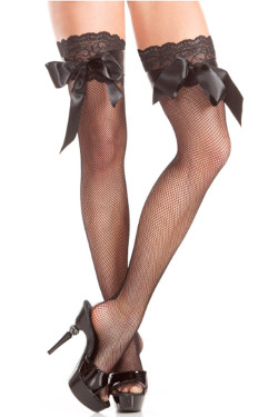 Black Thigh High pantyhose with lace and bow detail