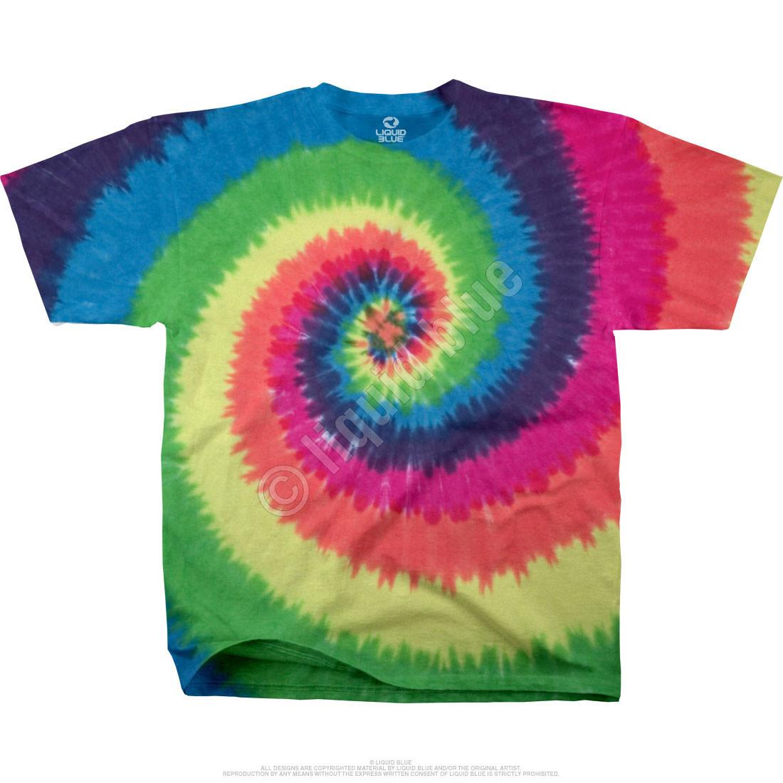 Rainbow Spiral Unprinted Tie-Dye T-Shirt