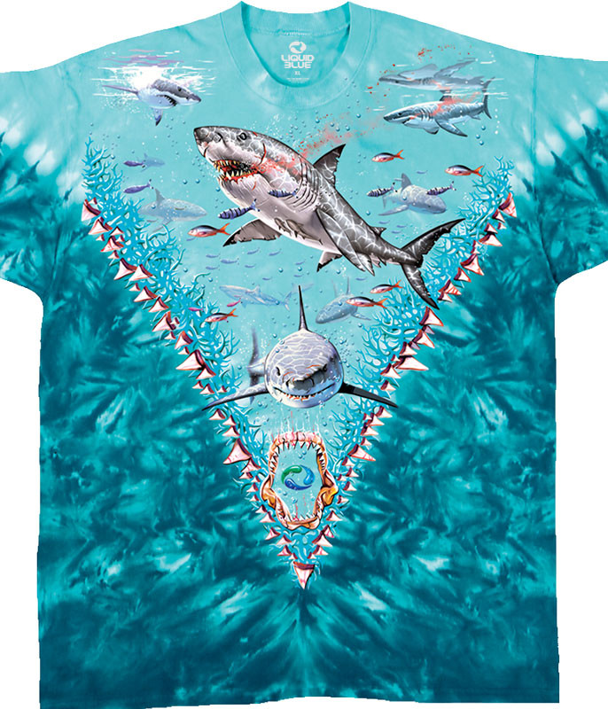 GREAT WHITE SHARKS TIE-DYE T-SHIRT