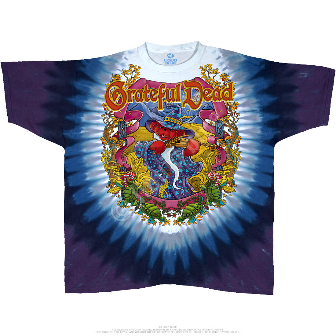 grateful dead terrapin moon tie dye t shirt liquid blue
