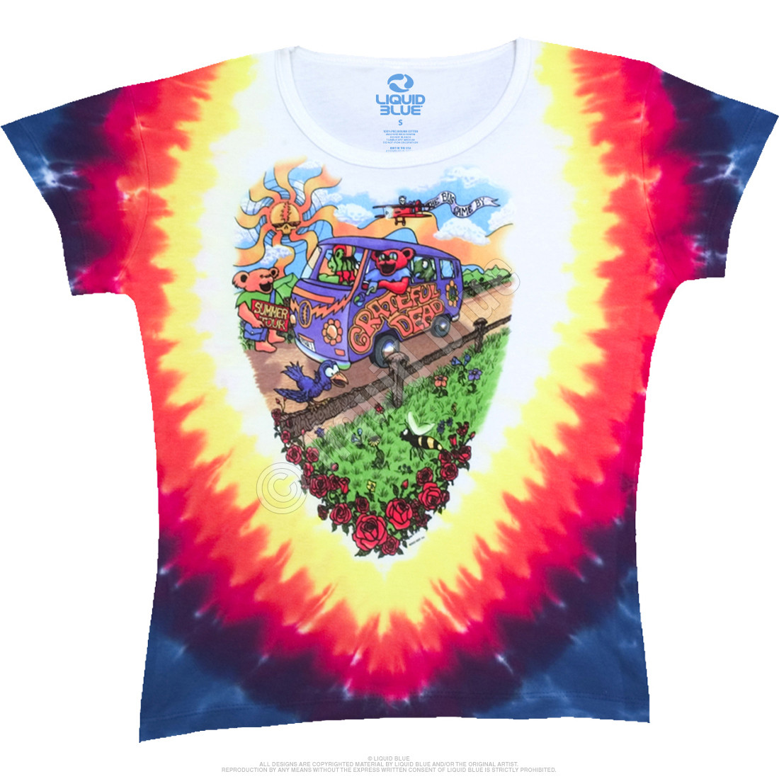 Summer Tour Bus Tie-Dye Juniors Long Length T-Shirt