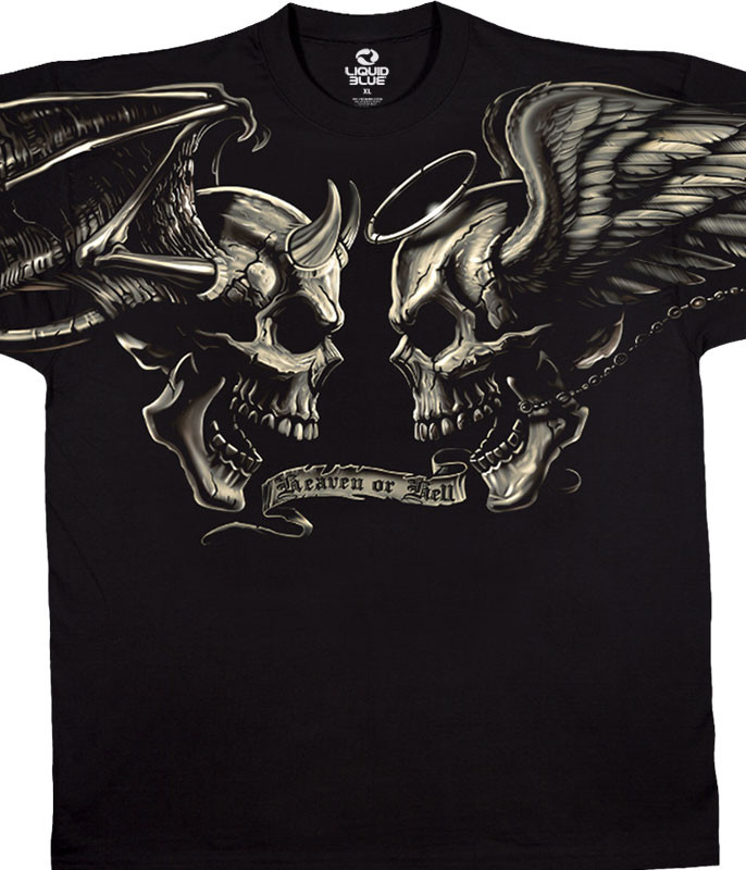 Skulls Good And Evil Black T-Shirt Tee Liquid Blue
