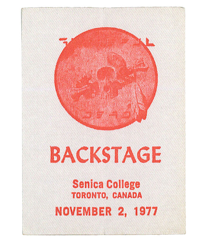 GRATEFUL DEAD 1977 11-02 BACKSTAGE PASS