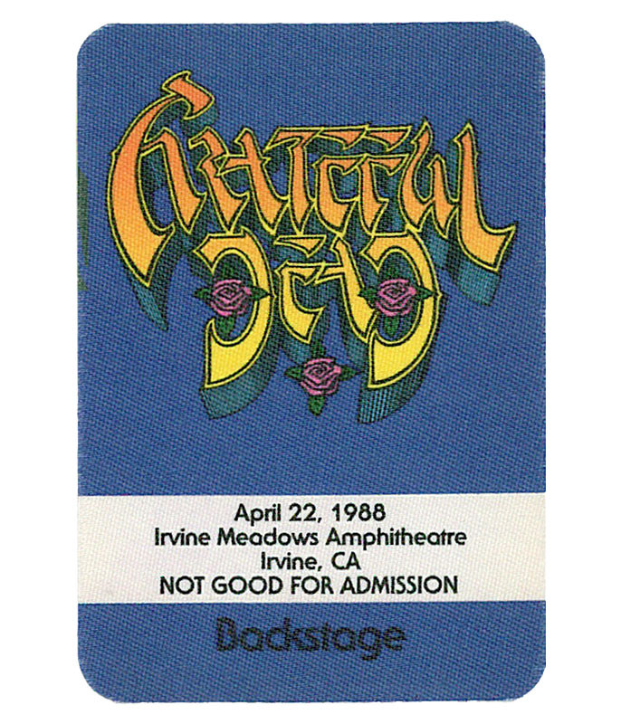 GRATEFUL DEAD 1988 04-22 BACKSTAGE PASS