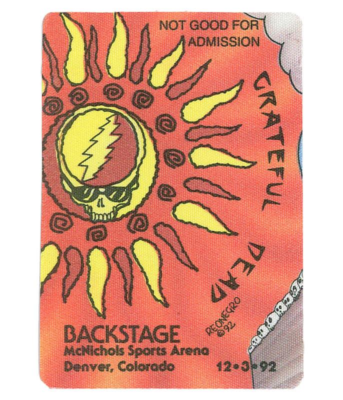 GRATEFUL DEAD 1992 12-03 BACKSTAGE PASS