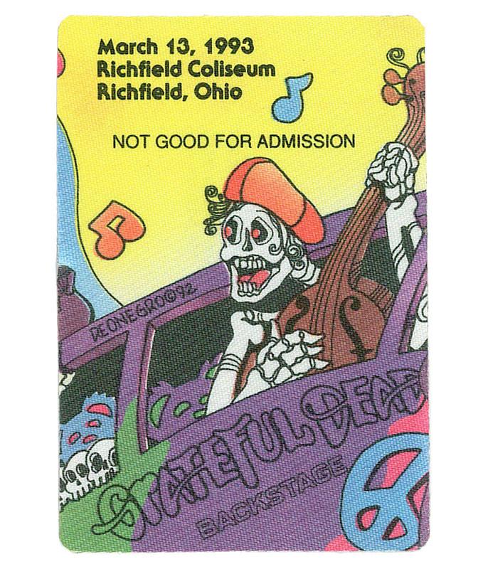 GRATEFUL DEAD 1993 03-13 BACKSTAGE PASS