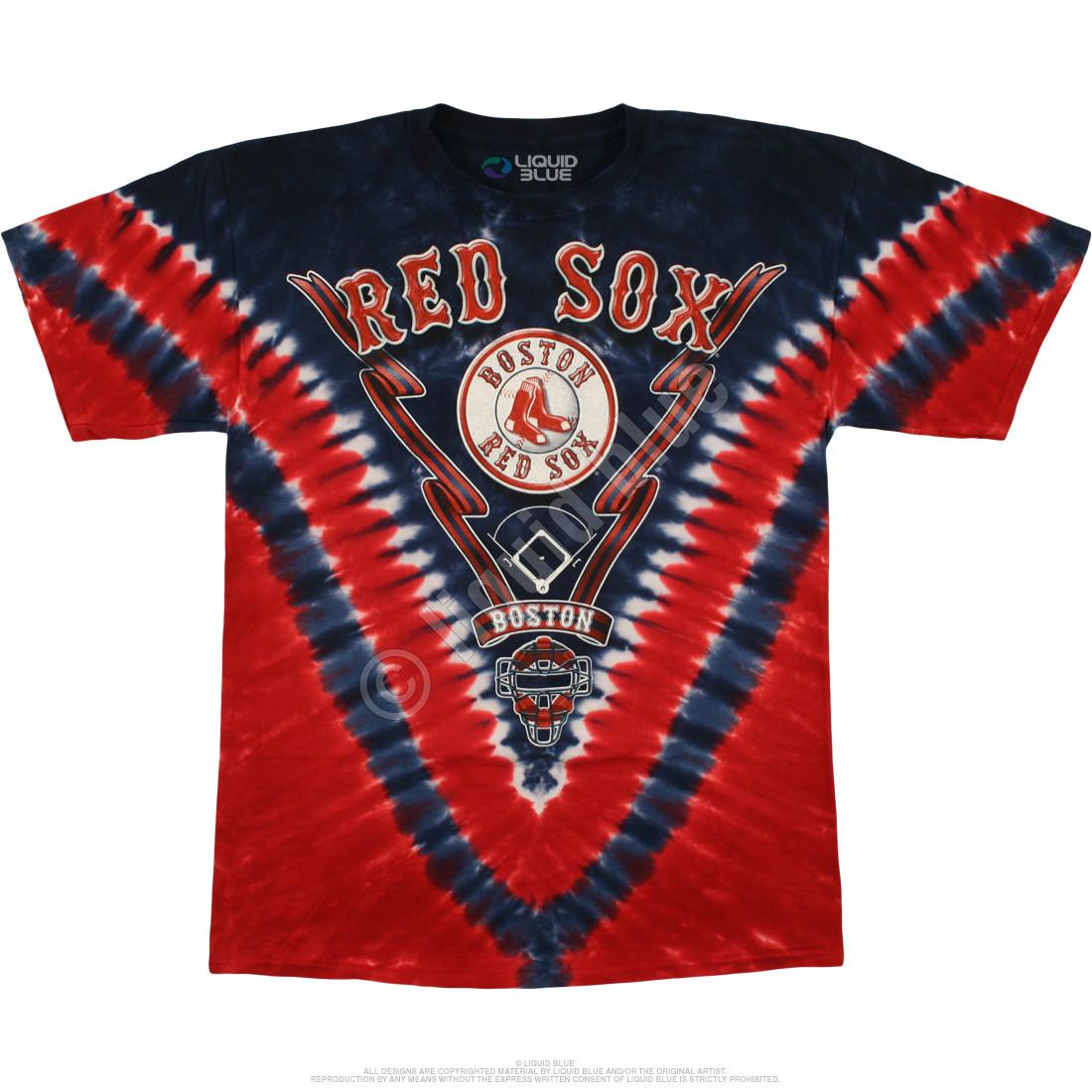 Mlb boston red sox v tie dye t shirt tee liquid blue for How to dye a shirt red