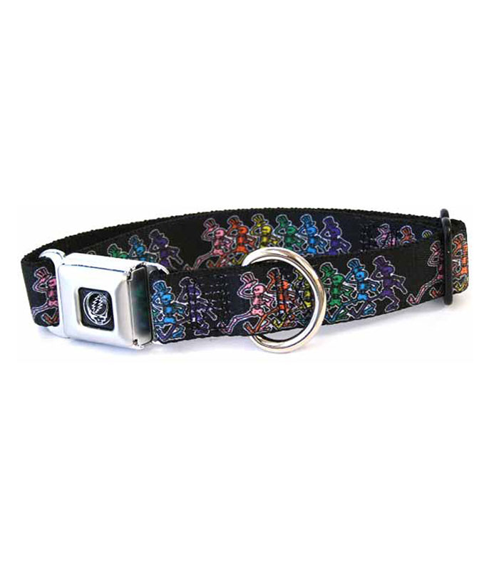 DANCING SKELETONS DOG COLLAR SM BLACK