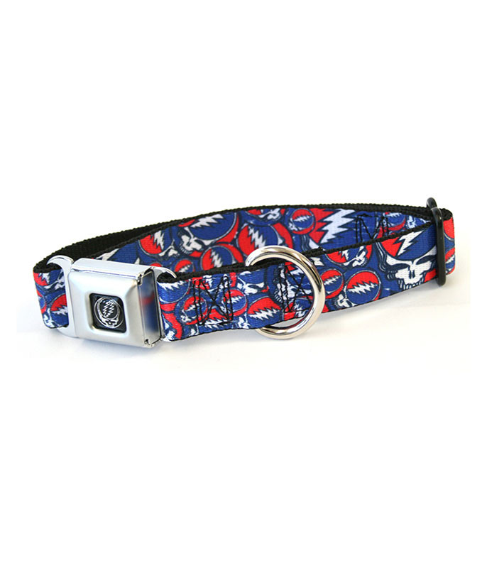 SYF COLLAGE DOG COLLAR LG BLACK