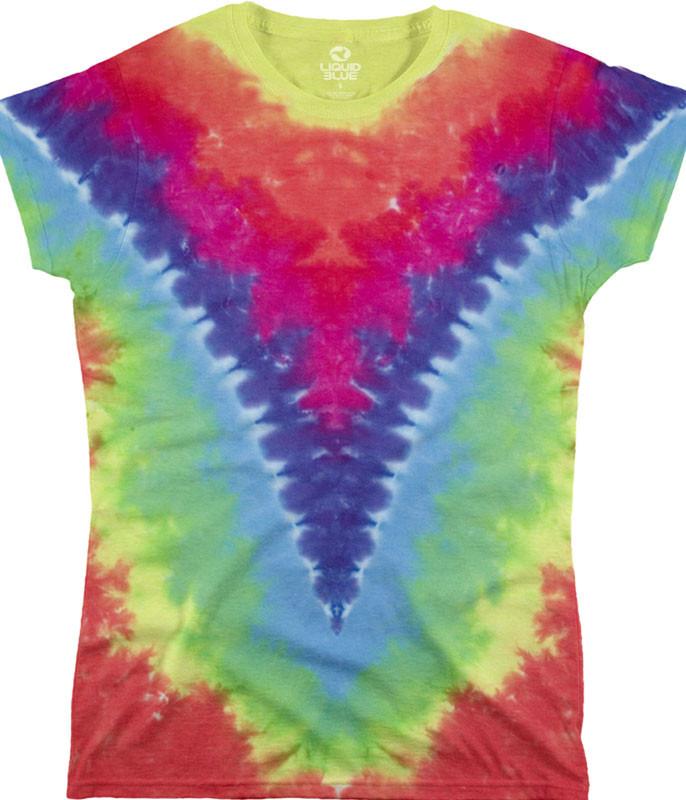 Rainbow V Unprinted Juniors Long Length Tie-Dye T-Shirt