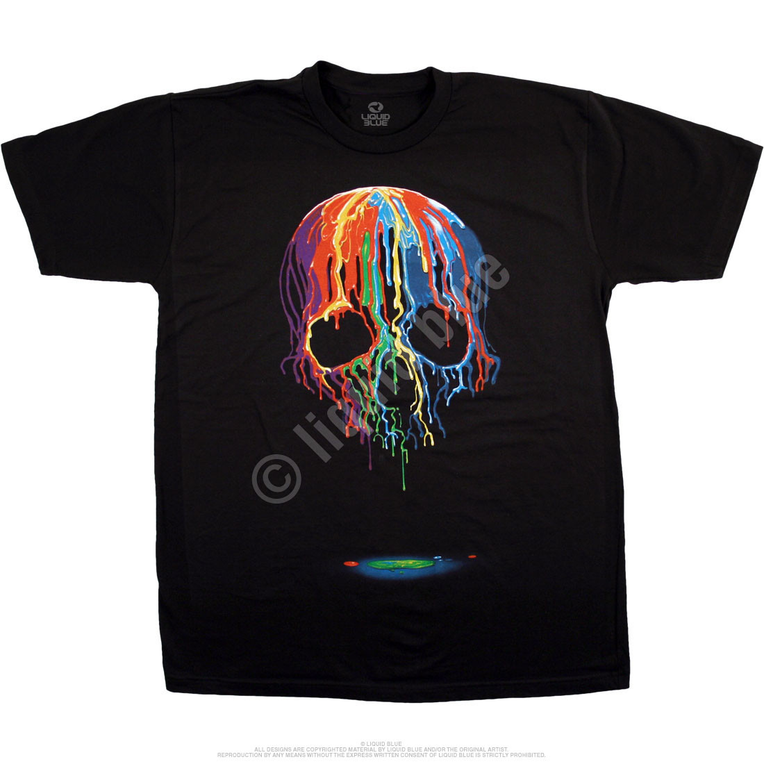 Melting Skull Black Athletic T-Shirt