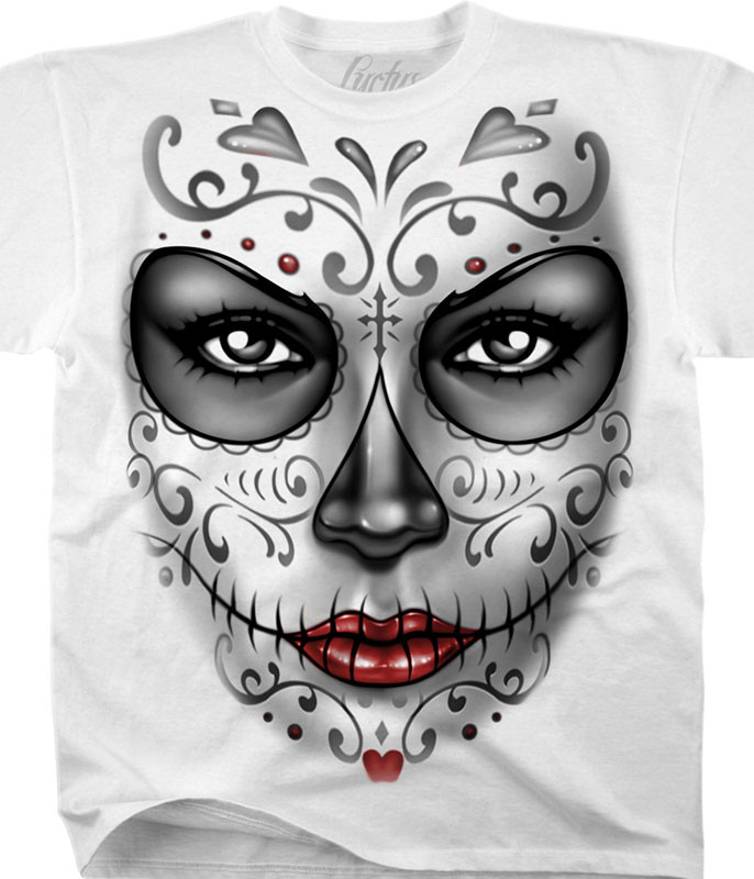 HEART SKULL WHITE ATHLETIC T-SHIRT