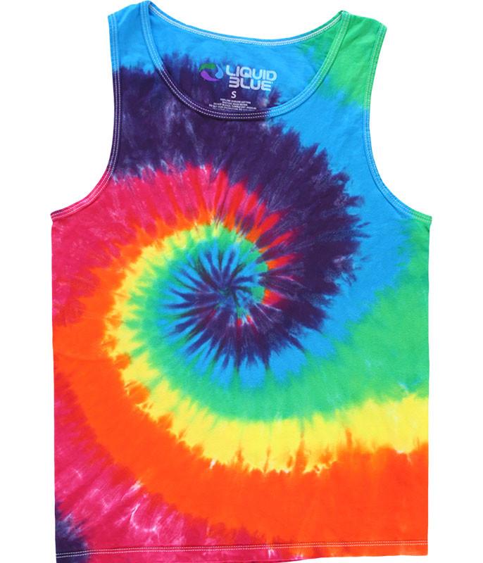Rainbow Spiral Unprinted Tie-Dye Tank Top T-Shirt
