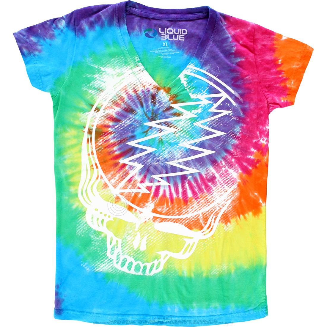 Stealie Tie-Dye Juniors Long Length V-Neck T-Shirt