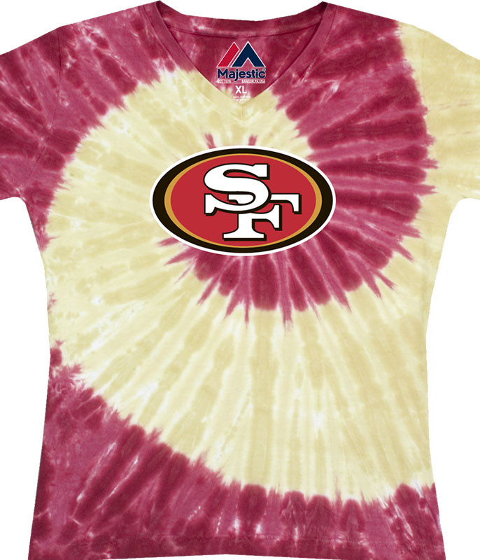 SAN FRANCISCO 49ERS JUNIORS V TIE-DYE LONG LENGTH T-SHIRT