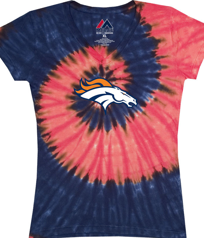 DENVER BRONCOS JUNIORS V TIE-DYE LONG LENGTH T-SHIRT