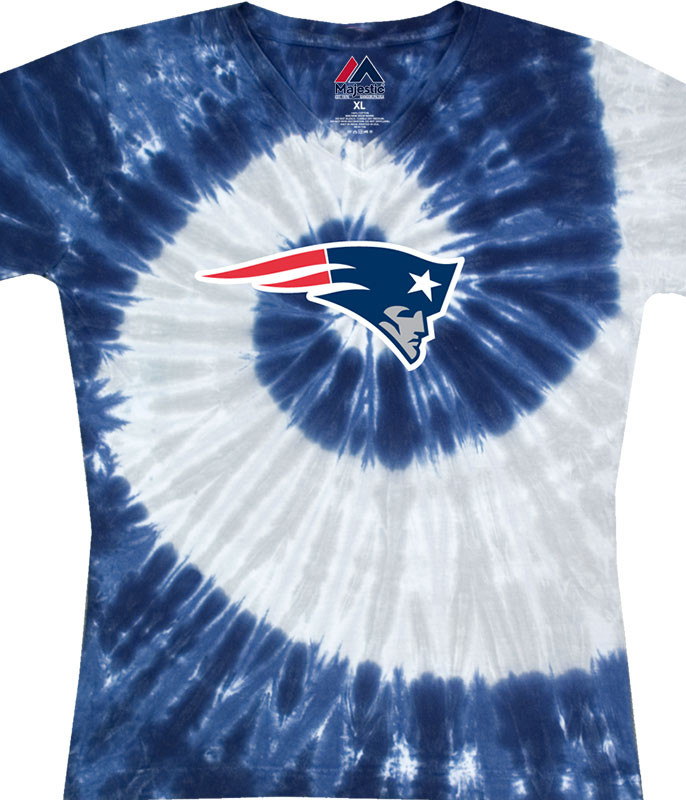 NEW ENGLAND PATRIOTS JUNIORS V TIE-DYE LONG LENGTH T-SHIRT