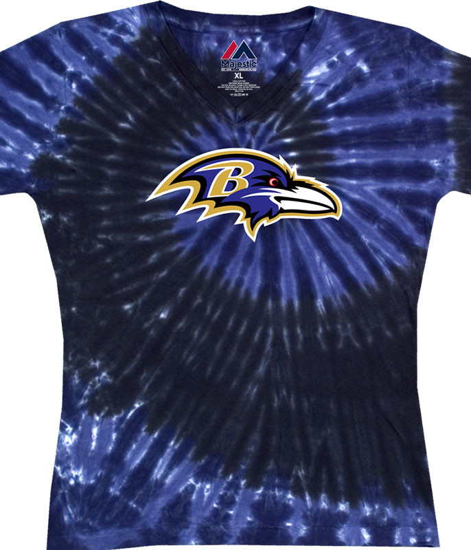 BALTIMORE RAVENS JUNIORS V TIE-DYE LONG LENGTH T-SHIRT