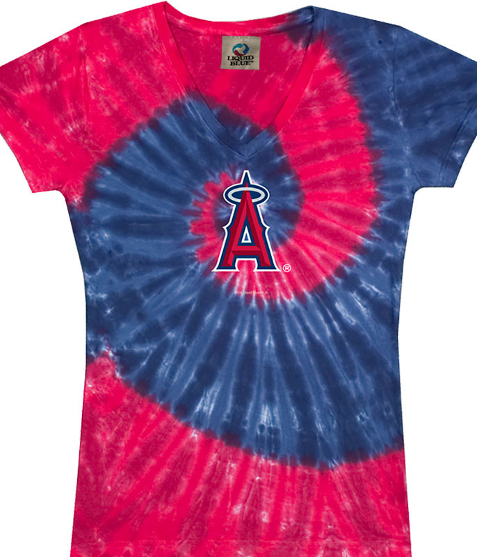 LOS ANGELES ANGELS SPIRAL V TIE-DYE JUNIORS LONG LENGTH T-SHIRT