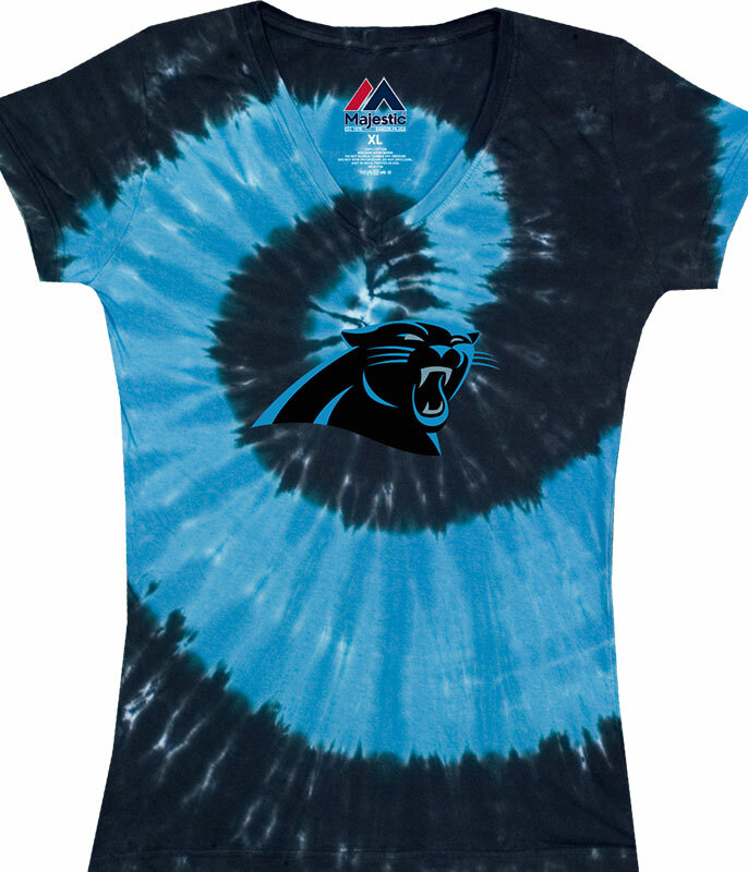 CAROLINA PANTHERS JUNIORS V TIE-DYE LONG LENGTH T-SHIRT