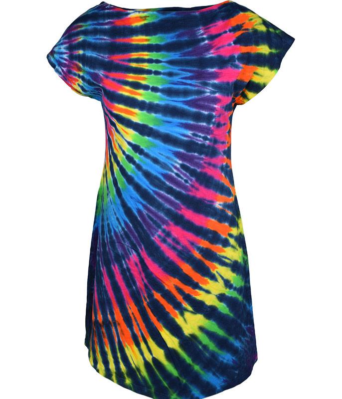 Rainbow Black Streak Womens Unprinted Tie-Dye Sundress