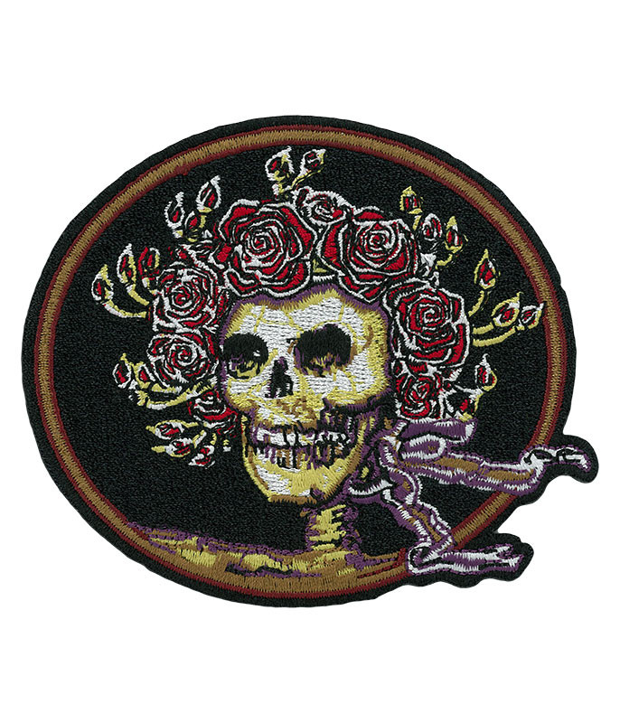 GD SKULL AND ROSES OVAL PATCH