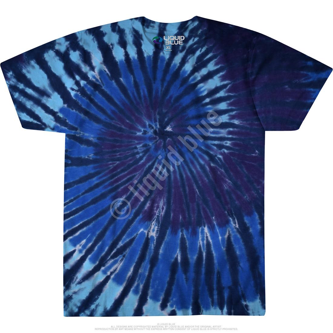 Blue Spiral Streak Unprinted Tie-Dye T-Shirt
