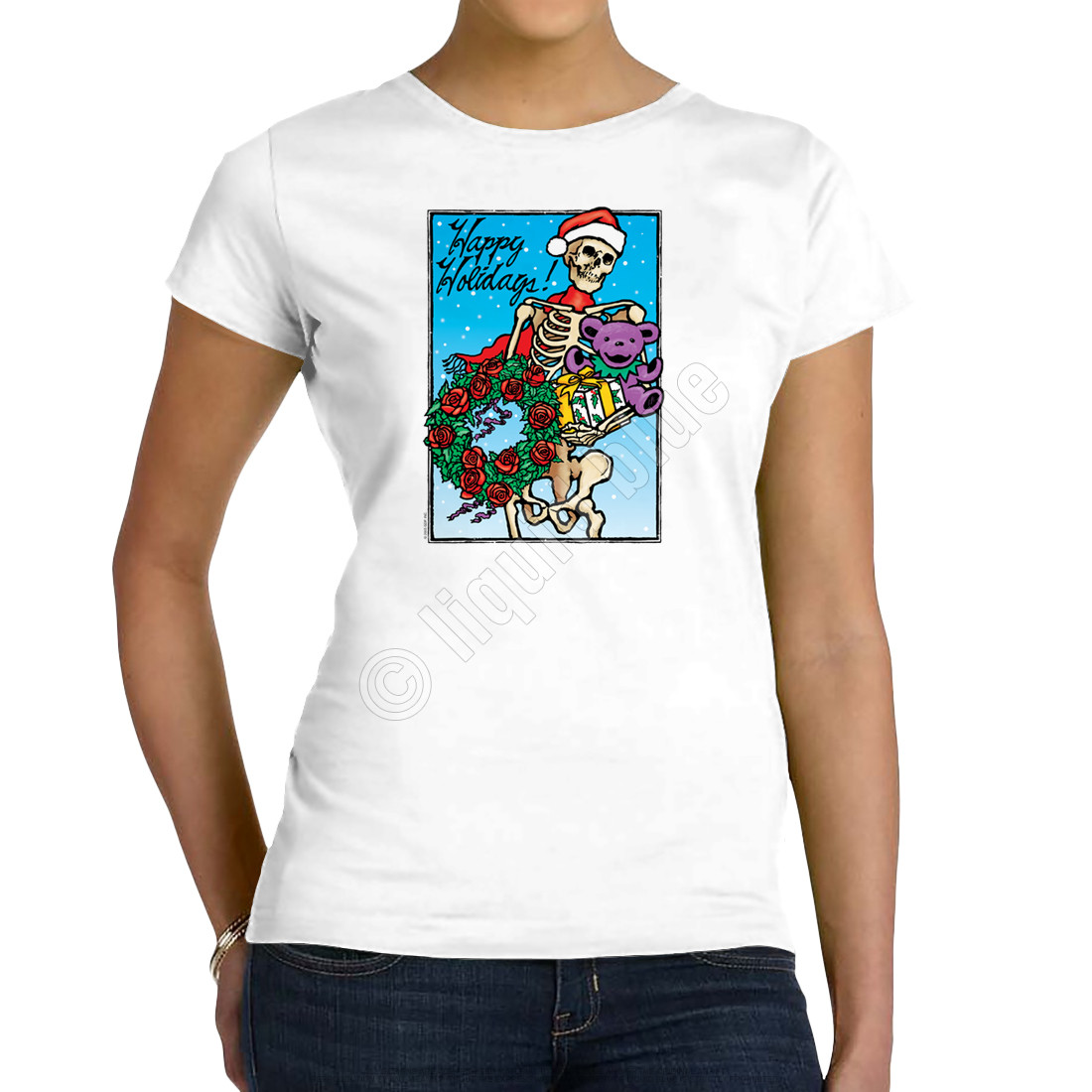 Bertha Claus Womens White Long Length T-Shirt