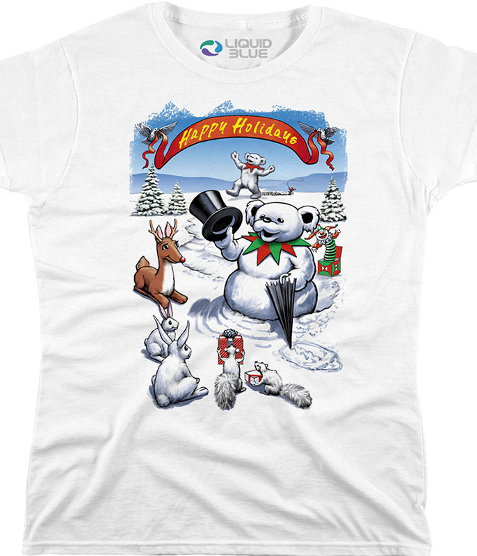 SNOWMAN BEAR WOMENS WHITE LONG LENGTH T-SHIRT