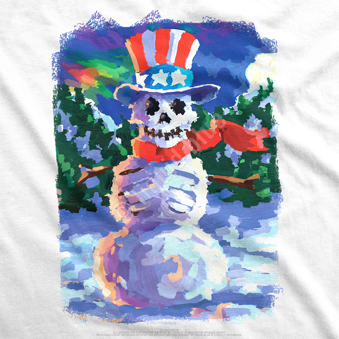Snowman Skeleton White T-Shirt