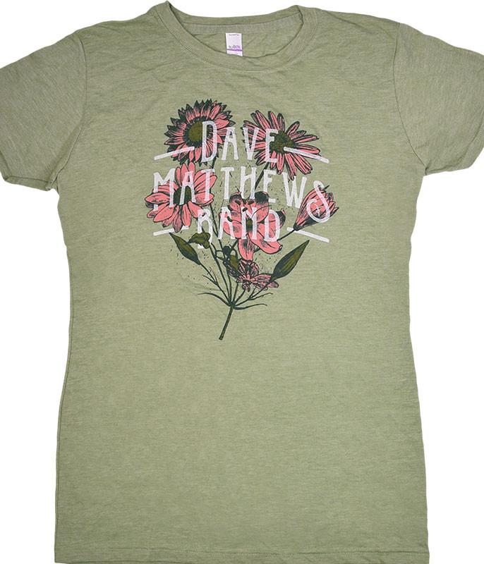DAVE MATTHEWS BAND FLOWERS GREEN HEATHER JUNIORS LONG LENGTHT-SHIRT