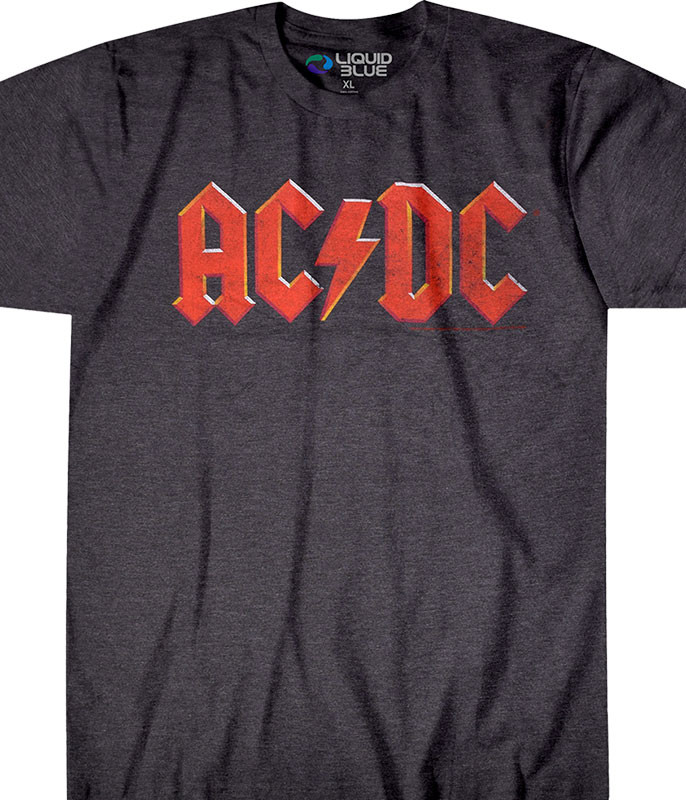 AC/DC VINTAGE LOGO DARK HEATHER POLY-COTTON T-SHIRT