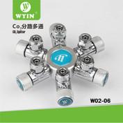Wyin 6 Way CO2 Splitter - Metal CO2 Flow Controller