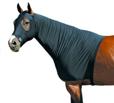 "Want a little extra warmth for your horse? Use a Fleece Stretch Hood from Sleazy Sleepwear for Horses.™  This mane tamer also adds warmth and offers protection against blanket rub when used as a liner under heavier garments. It is made from polyester and spandex. It helps to train the mane, keeps the mane and forelock clean. The ""Seamless Face"" design eliminates any seams below the eyes for maximum safety. Fleece Hoods come in BLACK only.  These hoods also feature:      •Generously sized patterns.     •4-way stretch, premium, fabrics.     •Large eye holes and ear holes.     •Wide, adjustable, fleece lined, nose band.     •Zipper option that adds a high quality, reliable, fully separating zipper. •All closures use a special, low profile, high strength, hook & loop fastener, for maximum strength, reliability, and ease of use.     •Fully finished hems with encased elastic for durability, and heavy duty, fully hemmed, girth elastic.  Sleazy Stretch Hoods come in 7 sizes. These hoods have the option of a full separating zipper from chin to chest. Zipper option is an additional fee."