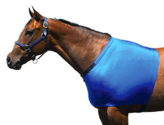 Help protect your horse's shoulders against blanket rub by using a Sleazy Sleepwear for Horses™ Shoulder Guard. It also provides additional warmth for the shoulders. The neck opening is enhanced inside with a fleece band, and the neck opening is made adjustable with Velcro tabs. The shoulder guards are made from nylon or polyester spandex and are available in 7 sizes. Other features include;   •Generously sized patterns.  •4-way stretch, premium, fabrics.  •All closures use a special, low profile, high strength, hook & loop fastener, for maximum strength, reliability, and ease of use.  •Fully finished hems with encased elastic for durability, and heavy duty, fully hemmed, girth elastic.