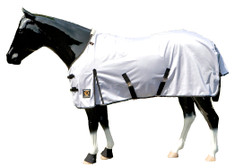 Great for cooling, and keeping bugs off on hot summer days, this mesh fly sheet by Sleazy Sleepwear for Horses™ is first quality. It is constructed of a tough yet supple, highly breathable, mid weight polyester mesh.     Feature List: • Double buckle open front design • Reinforced shoulder gussets • Shoulder area lined with 70 denier nylon to   help prevent shoulder rub • Extra deep cut with crossing surcingles • Tail protector & fleece withers protector • Removable elastic rear leg straps • Black binding w/silver accent plus logo patch Color – White with black binding and silver metallic accent  Limited Sizes Available
