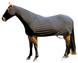 """Looking for that """"all over"""" shine and a little extra warmth? The Sleazy Fleece Full Body provides your horse head to tail coverage. A full separating zipper, from chin to chest, allows easy dressing. Sleazy Full Bodies have adjustable rear leg straps with snap hook closures. Sleazy Stretch Fleece Full Bodies come in 6 sizes and are made of polyester and spandex. The body portion is reinforced along the back to prevent over-stretching. Sizing is calculated the same way as a traditional blanket. Available in Black Only."""