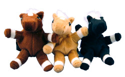 """Cute and fun these little plush Pony Key Chains have a little back pack. Clip it to your back pack, purse or tote bag. The zippered back pack is great for holding loose change. Comes in 3 colors. Approx. size is 5""""."""